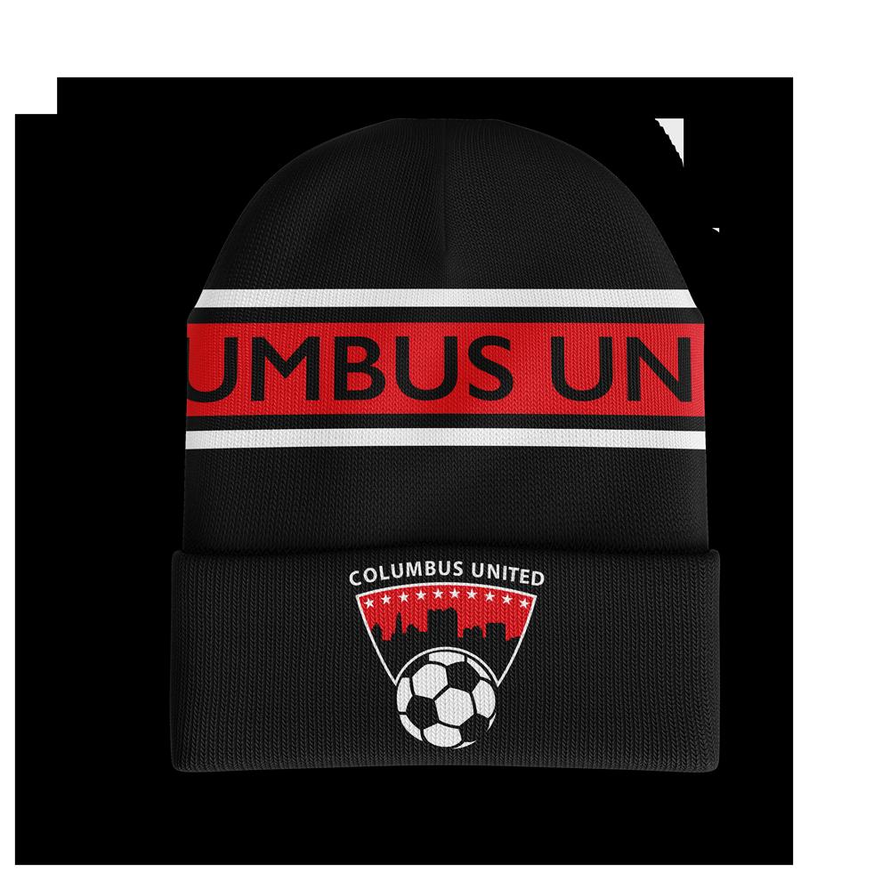 red, grey and black custom beanie with Columbus United printed across it with their soccer ball logo below it - Diehard Custom