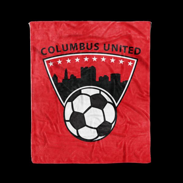red Columbus United soccer team blanket with their city skyline and soccer ball logo - Diehard Custom