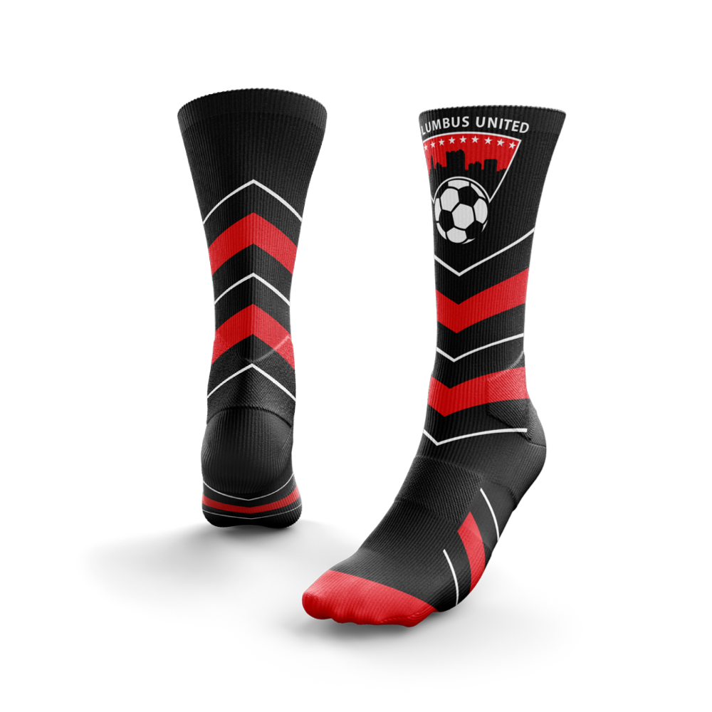 red and black striped custom crew socks with a soccer ball and Columbus United logo on the front of the shin - Diehard Custom