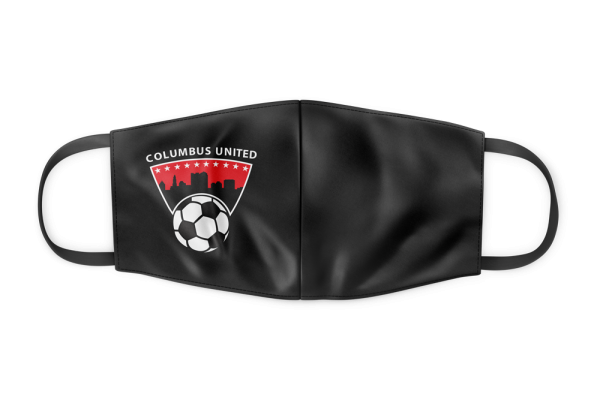 black Columbus United face mask with city skyline and soccer ball logo on the left hand side - Diehard Custom