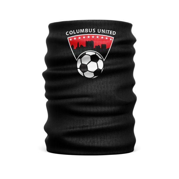 black custom face guard with Columbus United soccer ball and city skyline logo towards the top - Diehard Custom