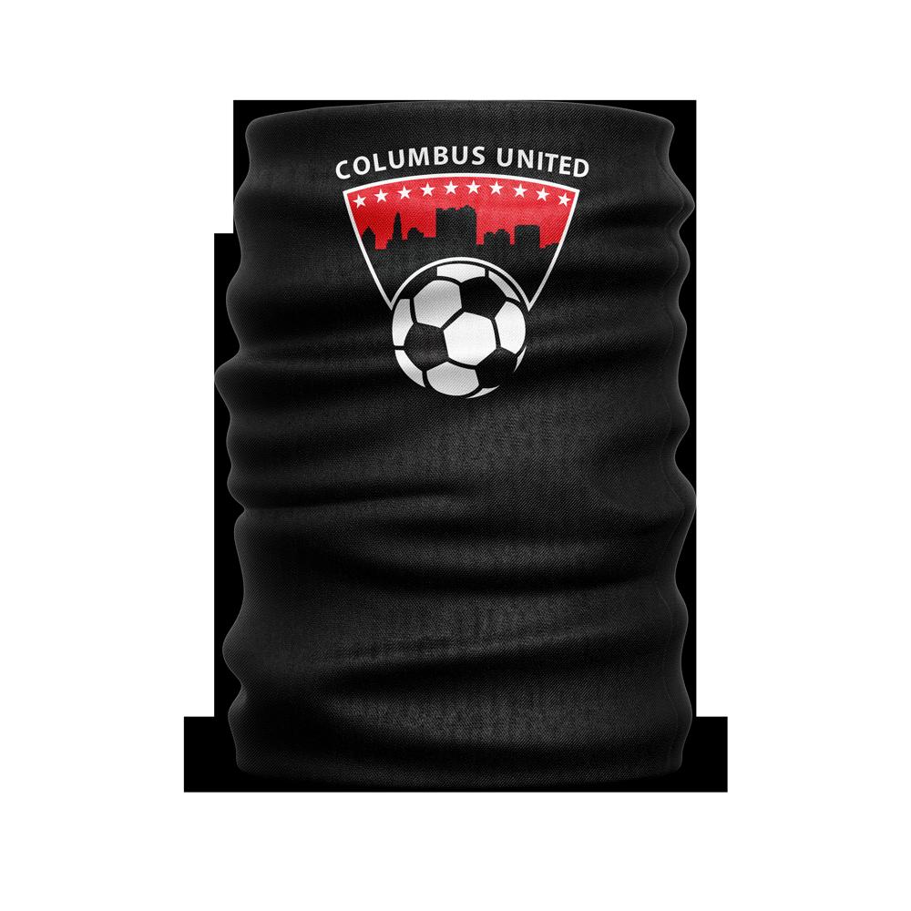 black custom face guard with Columbus United soccer ball and city skyline logo towards the top - Diehard Custom