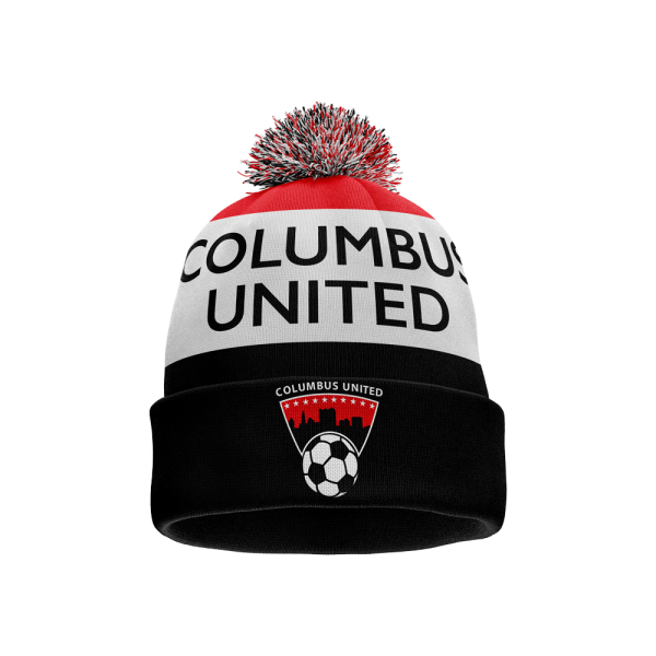 red, grey and black custom pom beanie with Columbus United printed across it with their soccer ball logo below it - Diehard Custom