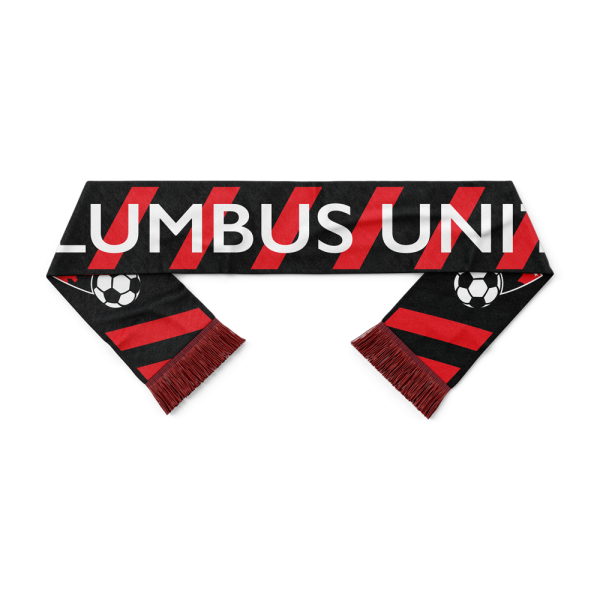 red and black striped Columbus United soccer scarf - Diehard Custom