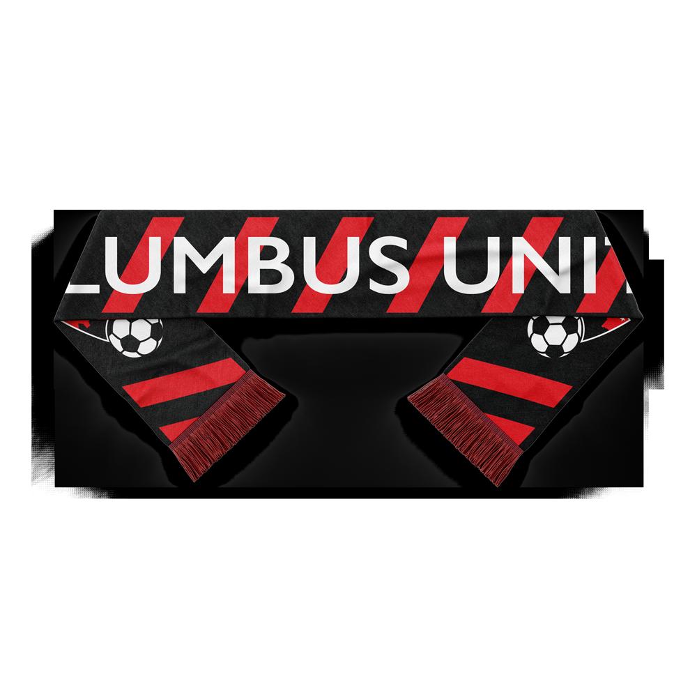 red and black striped Columbus United soccer scarf - Diehard Custom