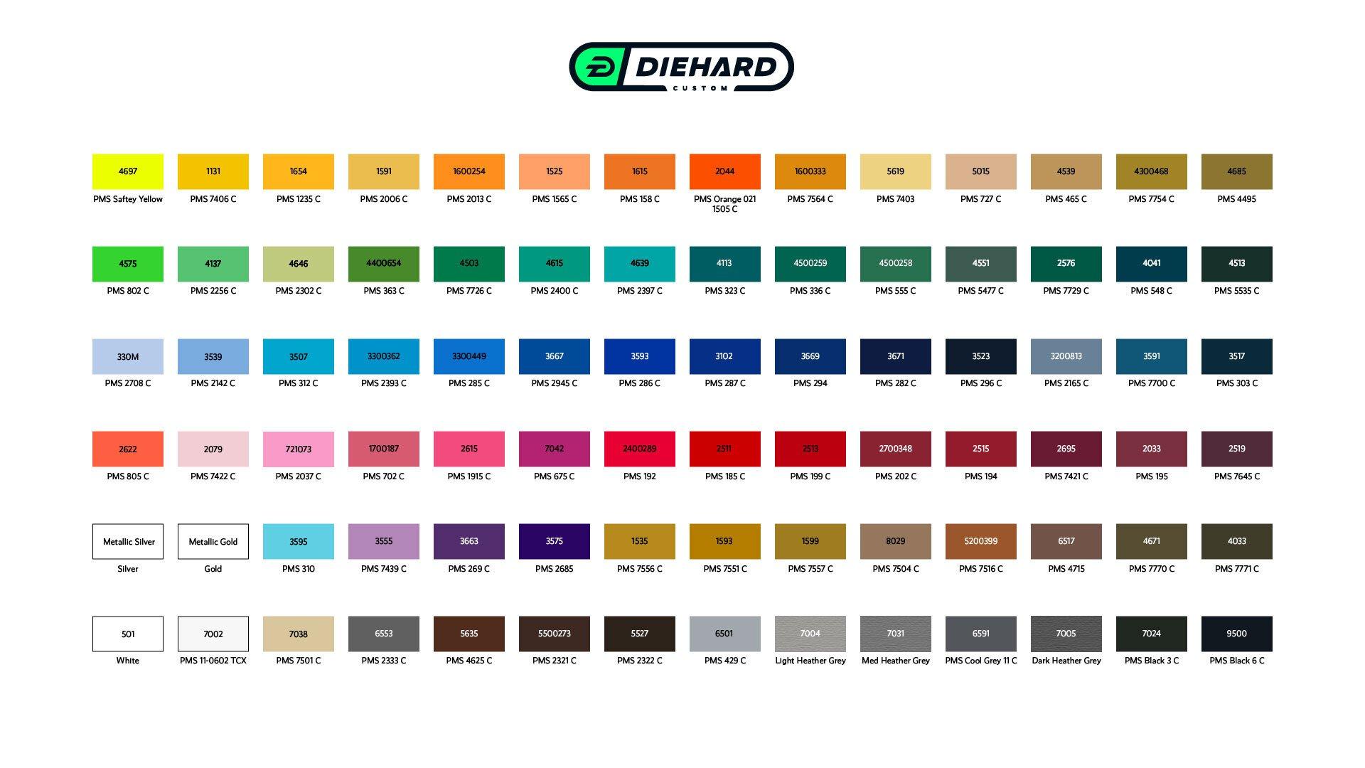 Diehard Custom yarn color chart for custom apparel