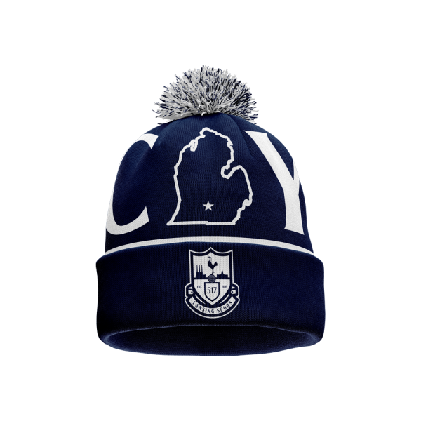 Lansing Spurs navy and white custom pom beanie - Diehard Custom Fundraising