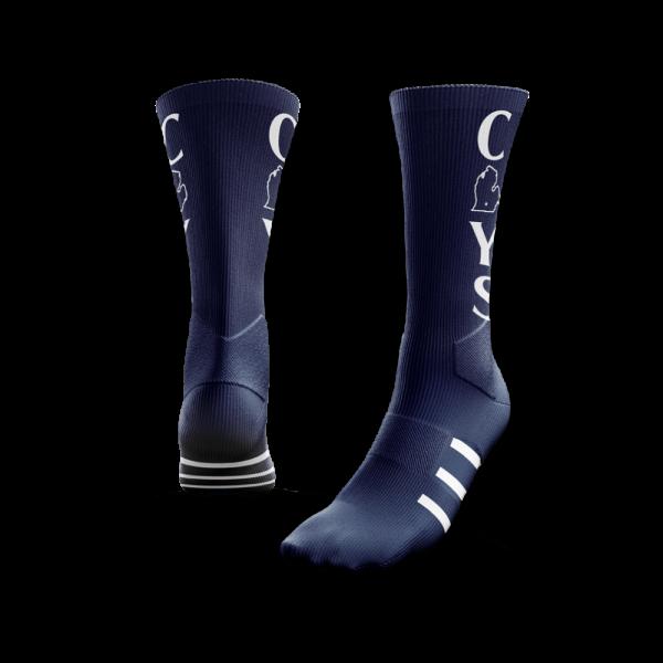 Lansing Spurs navy with white custom soccer socks - Diehard Custom Fundraising