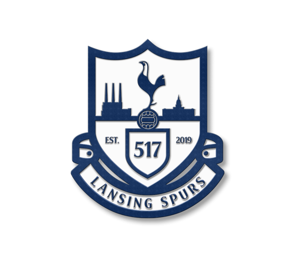 Lansing Spurs soccer crest enamel pin in navy and white - Diehard Custom Fundraising