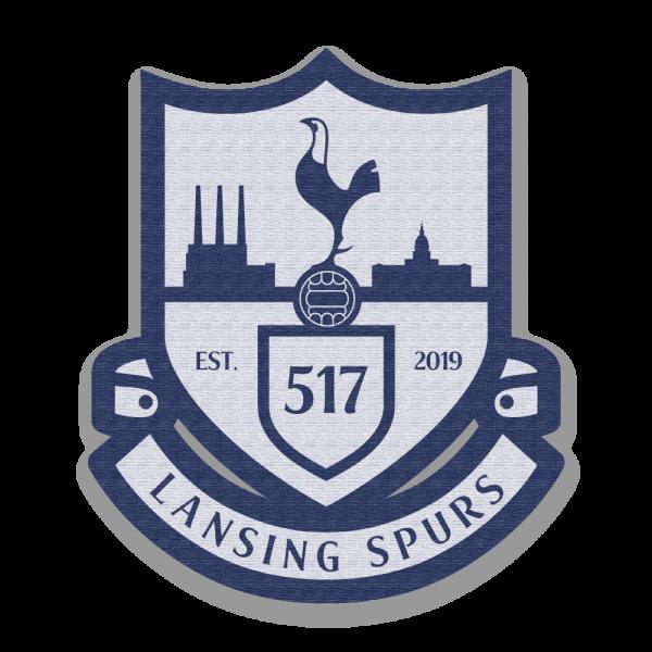 Lansing Spurs navy and white soccer crest woven patch - Diehard Custom Fundraising