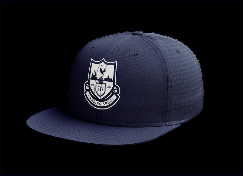 Lansing Spurs navy with white crest custom perforated hat - Diehard Custom Fundraising