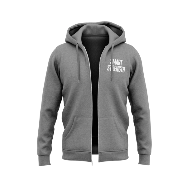 Smart Strength logo in white on light grey full zip hoodie - Diehard Custom Fundraising