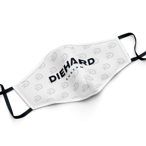 white Diehard Custom face mask with D logo pattern and Diehard Custom printed in black
