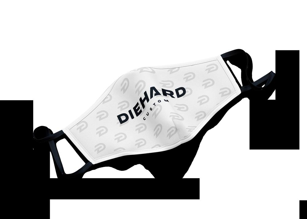 white Diehard Custom face mask with D logo pattern and Diehard Custom printed in black