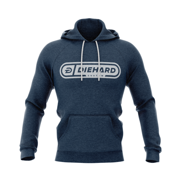 Diehard Custom logo in white on blue demo terry hoodie