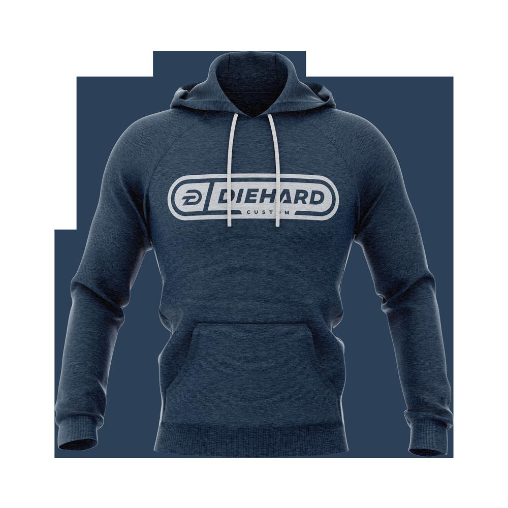 Diehard Custom logo in white on blue demo terry hoodie