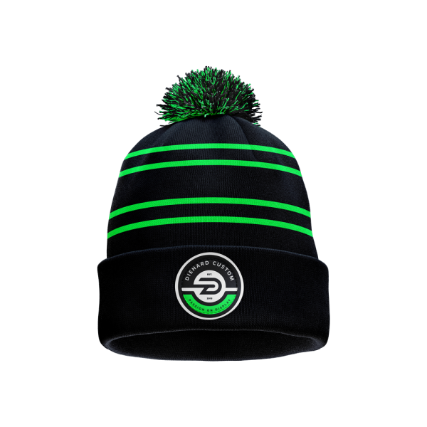 Diehard Custom Green and black stripped demo knit pom beanie