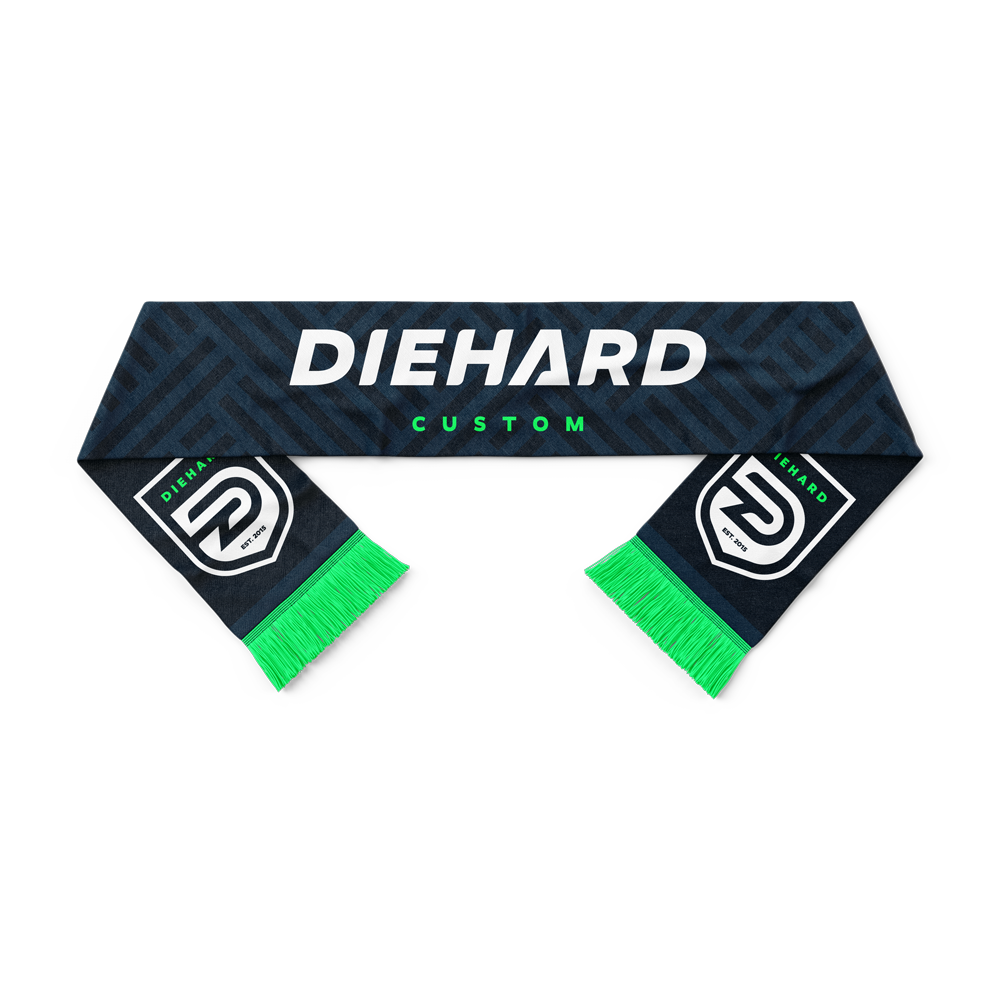 Diehard Custom branded soccer scarf with crests at each end
