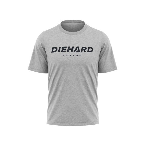black Diehard Custom logo on grey Tri-Blend Tshirt