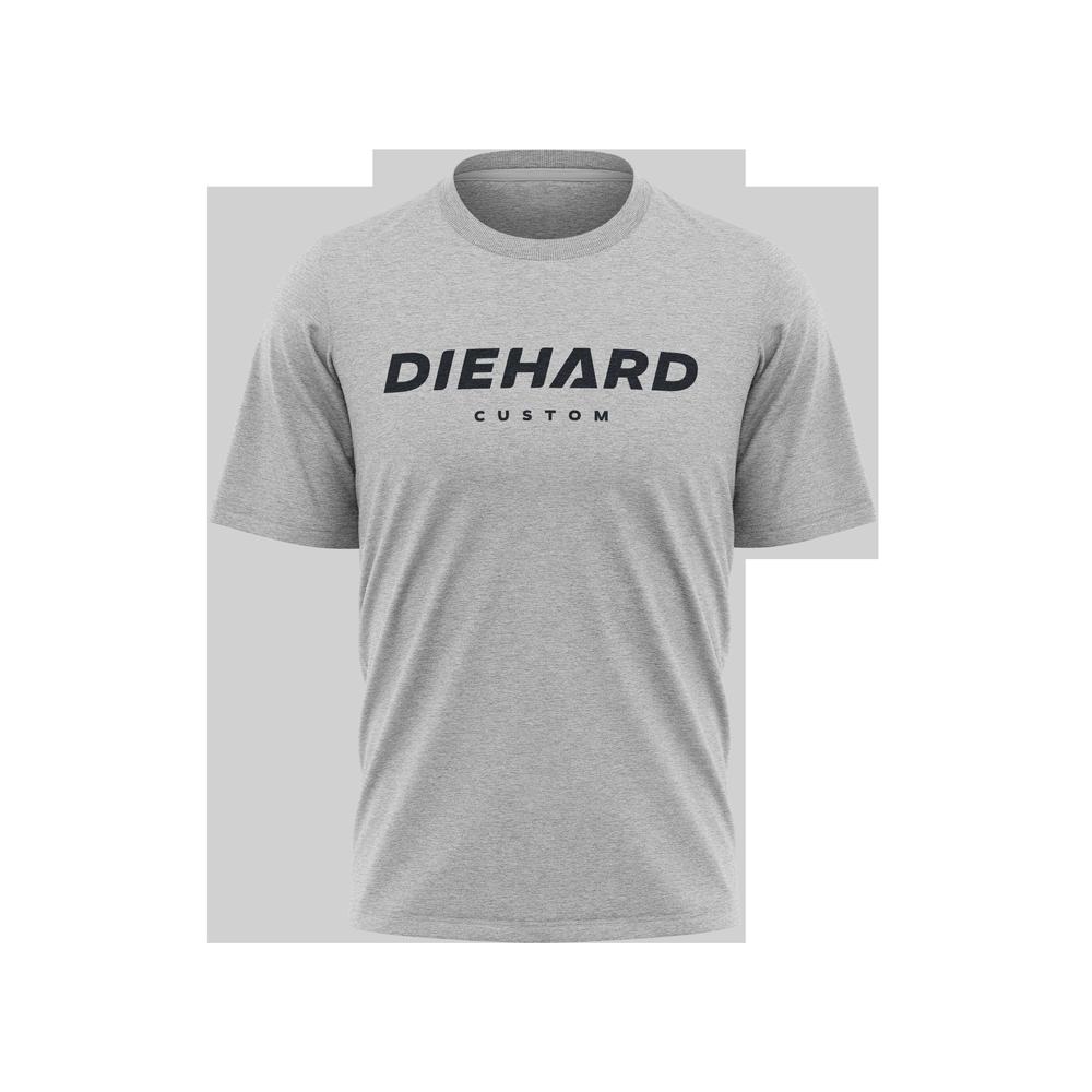 black Diehard Custom logo on grey Tri-Blend Tshirt