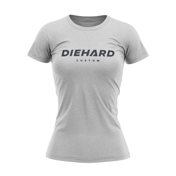 black Diehard Custom logo on grey womens Tri-Blend Tshirt