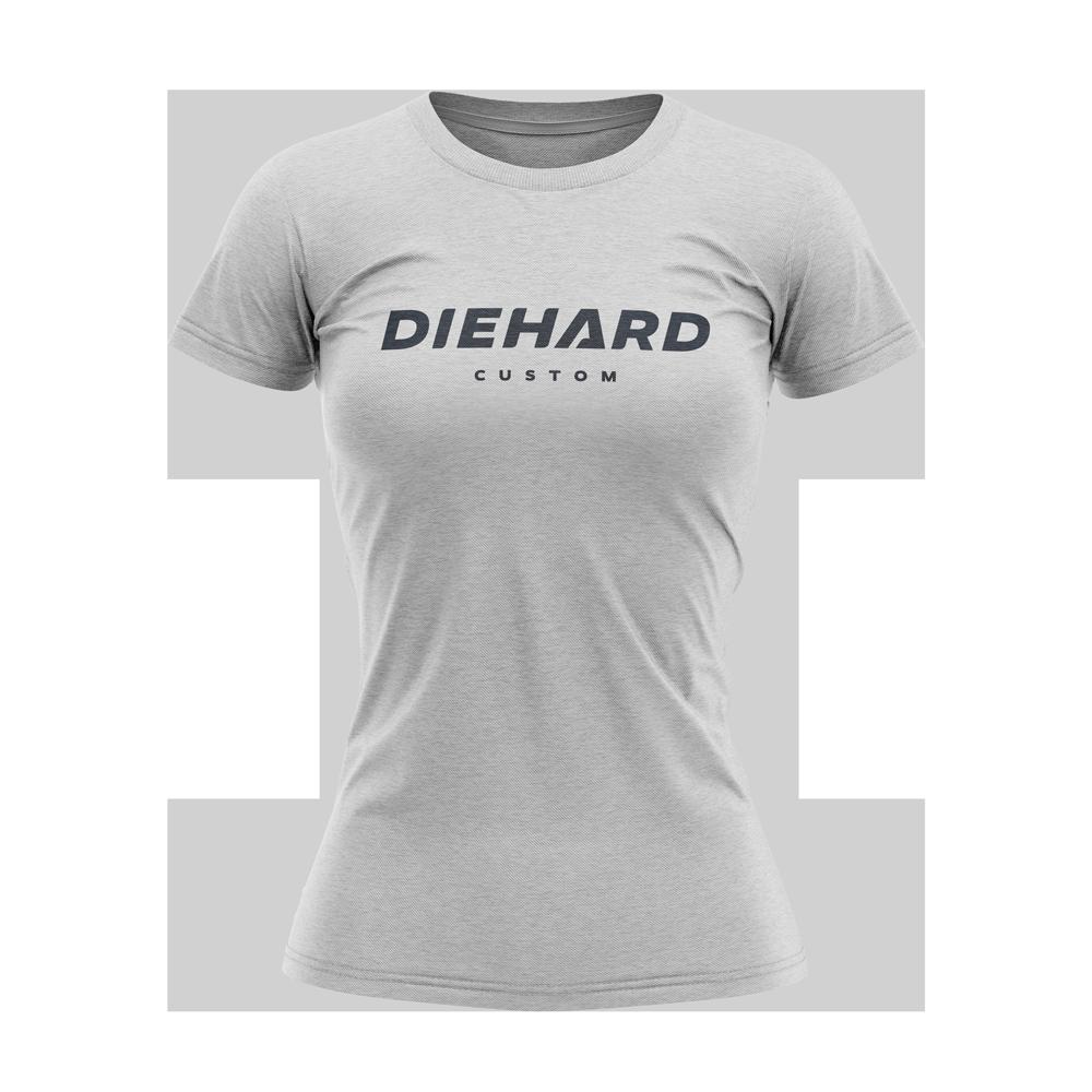 black Diehard Custom logo on grey womens Tri-Blend Tshirt