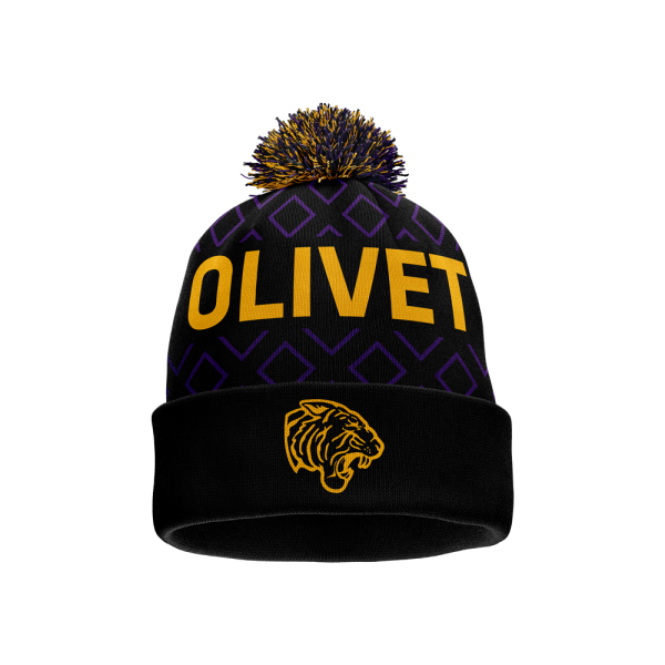Olivet in gold letters and ONU Gold tiger logo on black, gold, and purple on custom pom beanie - Diehard Custom Fundraising
