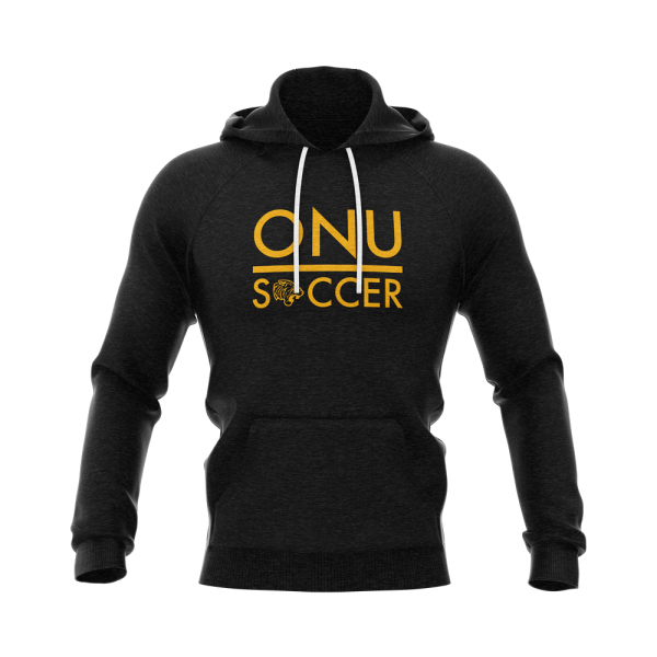 ONU french terry hoodie in black with white laces ONU Soccer in gold letters and with gold tiger logo - Diehard Custom Fundraising
