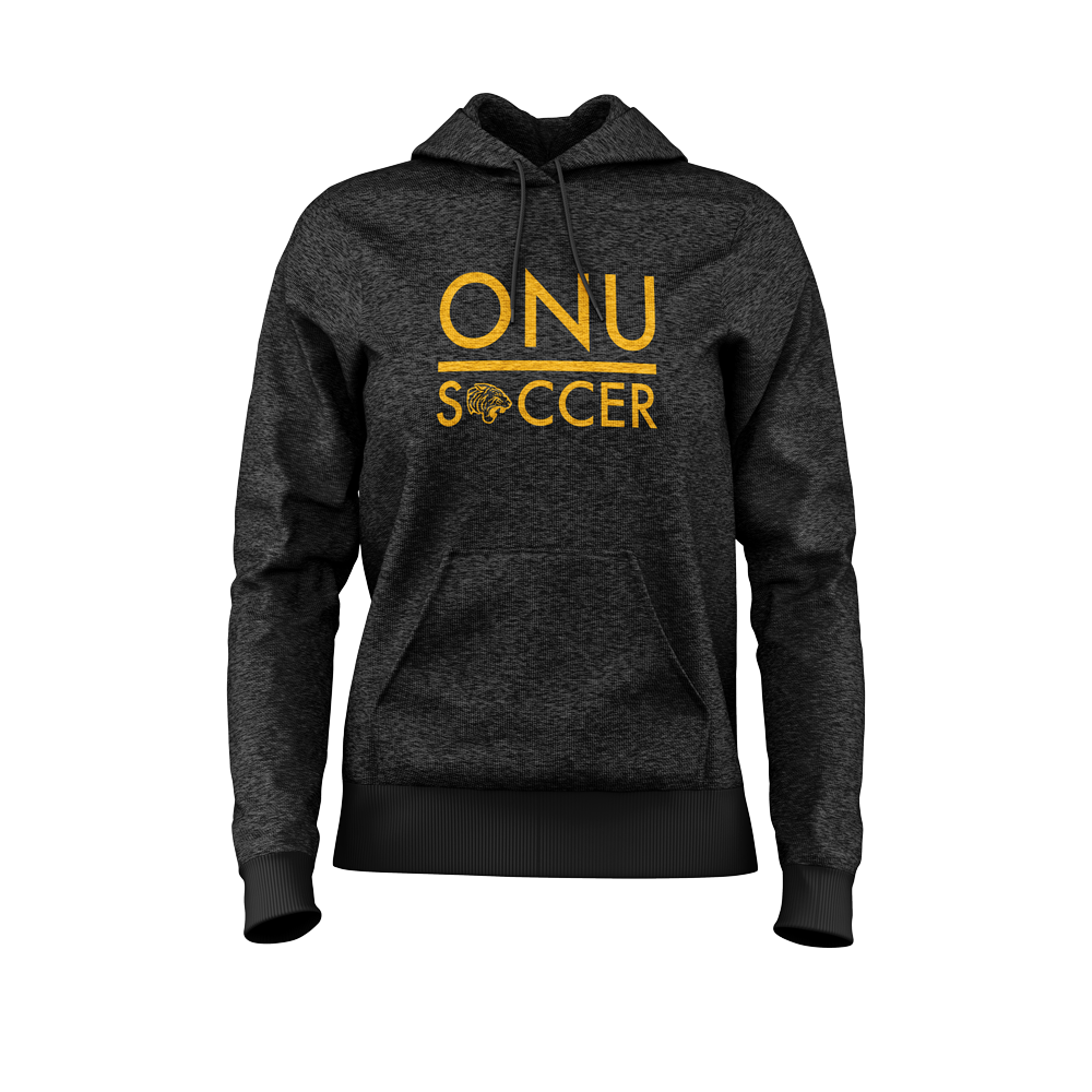 ONU womans lightweight fleece hoodie in black ONU Soccer in gold letters and with tiger logo replacing the o in soccer - Diehard Custom Fundraising