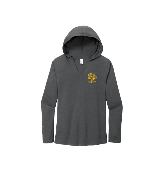 ONU ladies lightweight hoodie in charcoal Soccer in gold letters and with gold tiger logo - Diehard Custom Fundraising