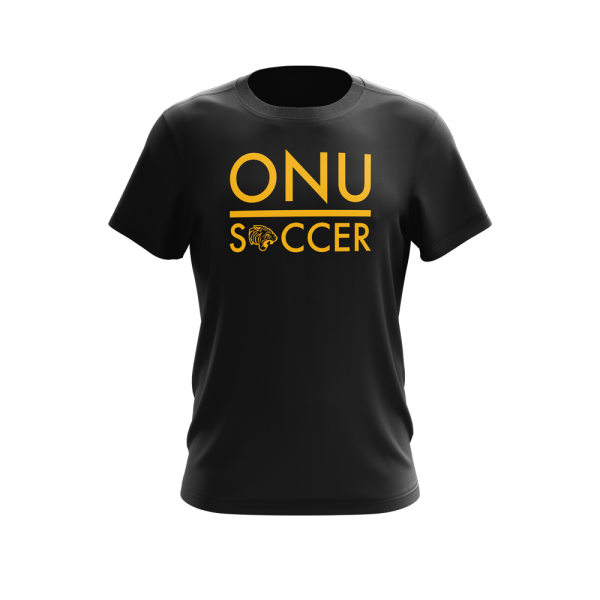 ONU mens triblend tshirt in black with ONU Soccer in gold letters with gold tiger logo - Diehard Custom Fundraising