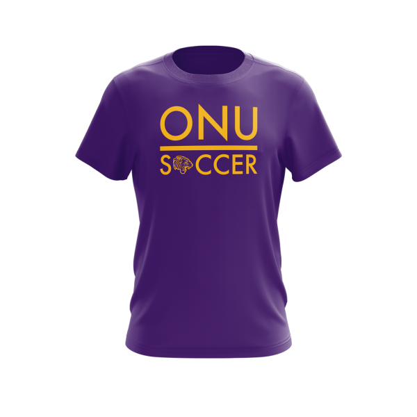 ONU mens performance tshirt in purple with ONU Soccer in gold letters with gold tiger logo - Diehard Custom Fundraising