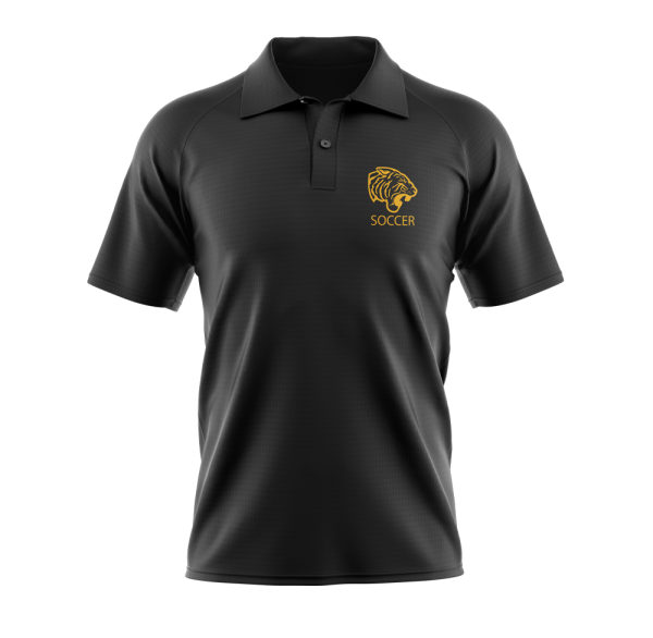 ONU Black polo with tiger logo with words soccer underneath in gold - Diehard Custom Fundraising