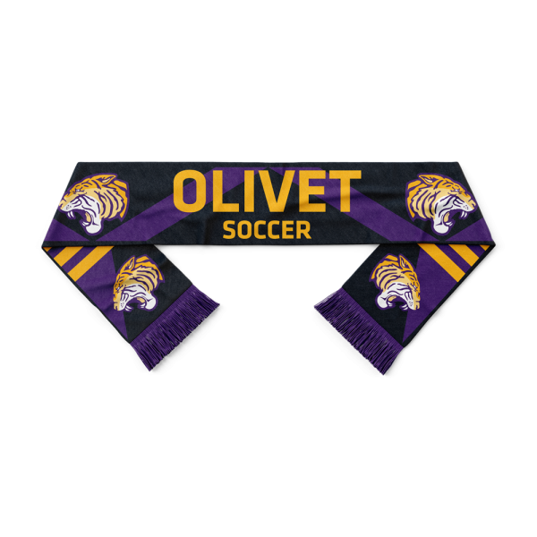 Olivet Soccer in gold letters and ONU Gold tiger logo on black, gold, and purple on custom HD woven scarf - Diehard Custom Fundraising