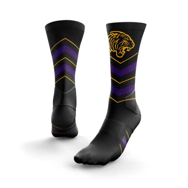 black ONU Soccer socks wit purple and gold stripes and gold tiger logo at the top - Diehard Custom Fundraising