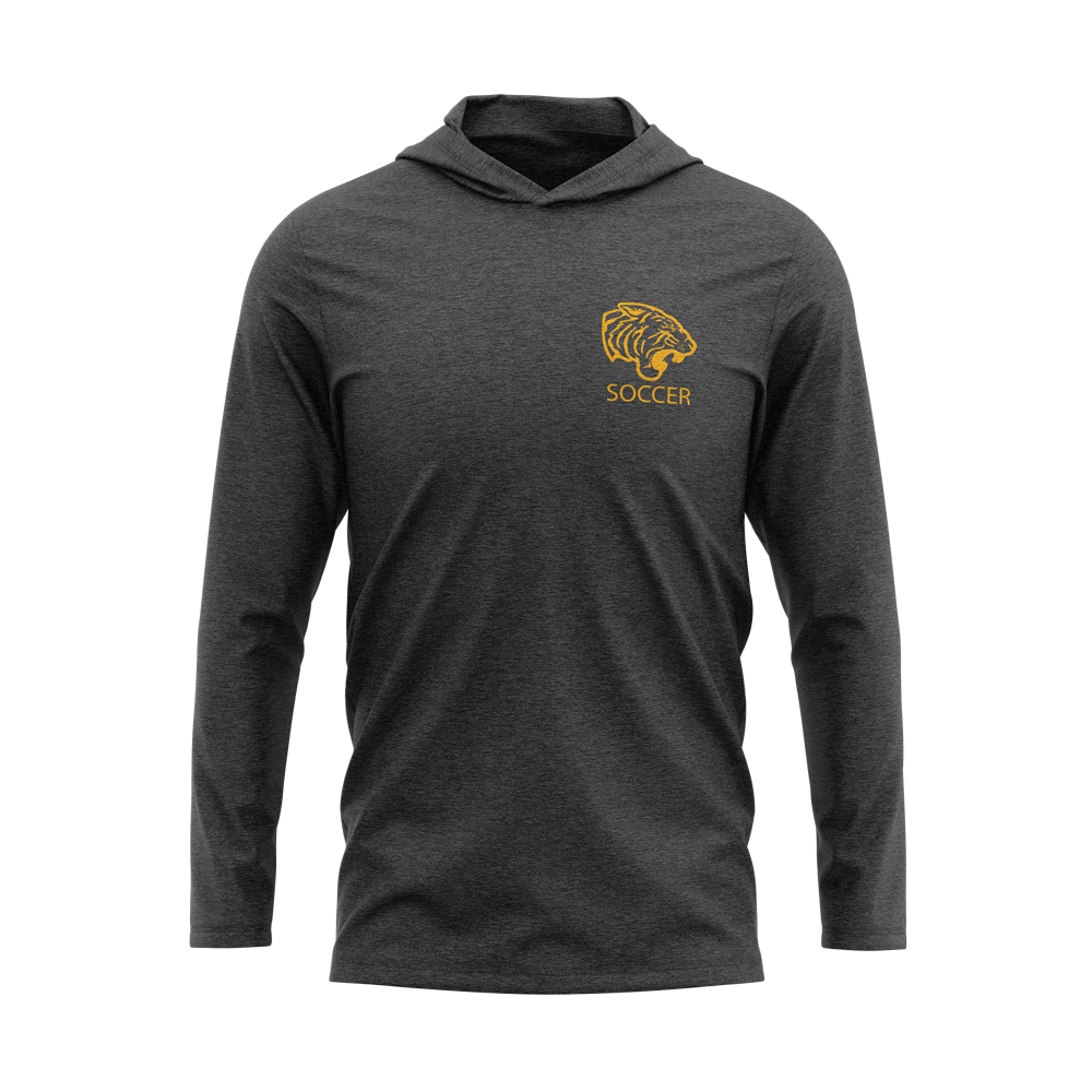 ONU mens triblend hoodie in charcoal Soccer in gold letters with gold tiger logo - Diehard Custom Fundraising