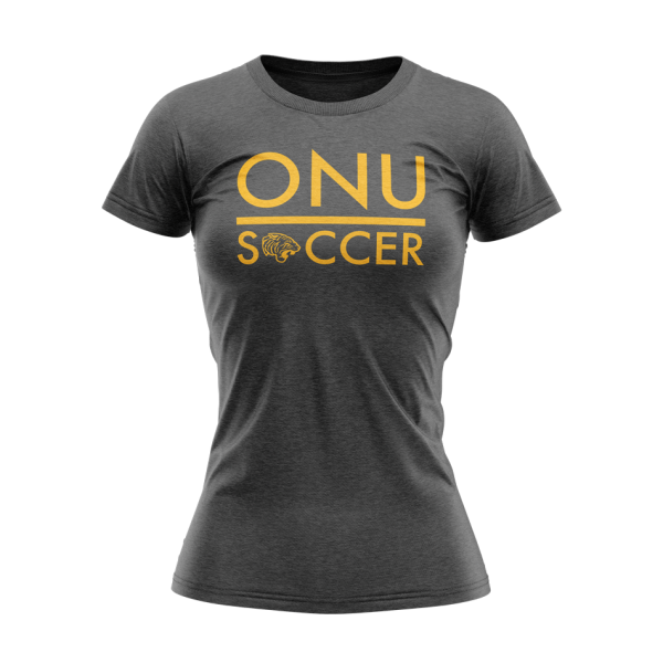 ONU womens triblend tshirt in charcoal with ONU Soccer in gold letters with gold tiger logo - Diehard Custom Fundraising