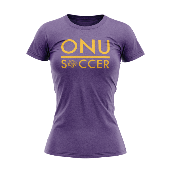 ONU womens triblend tshirt in purple with ONU Soccer in gold letters with gold tiger logo - Diehard Custom Fundraising