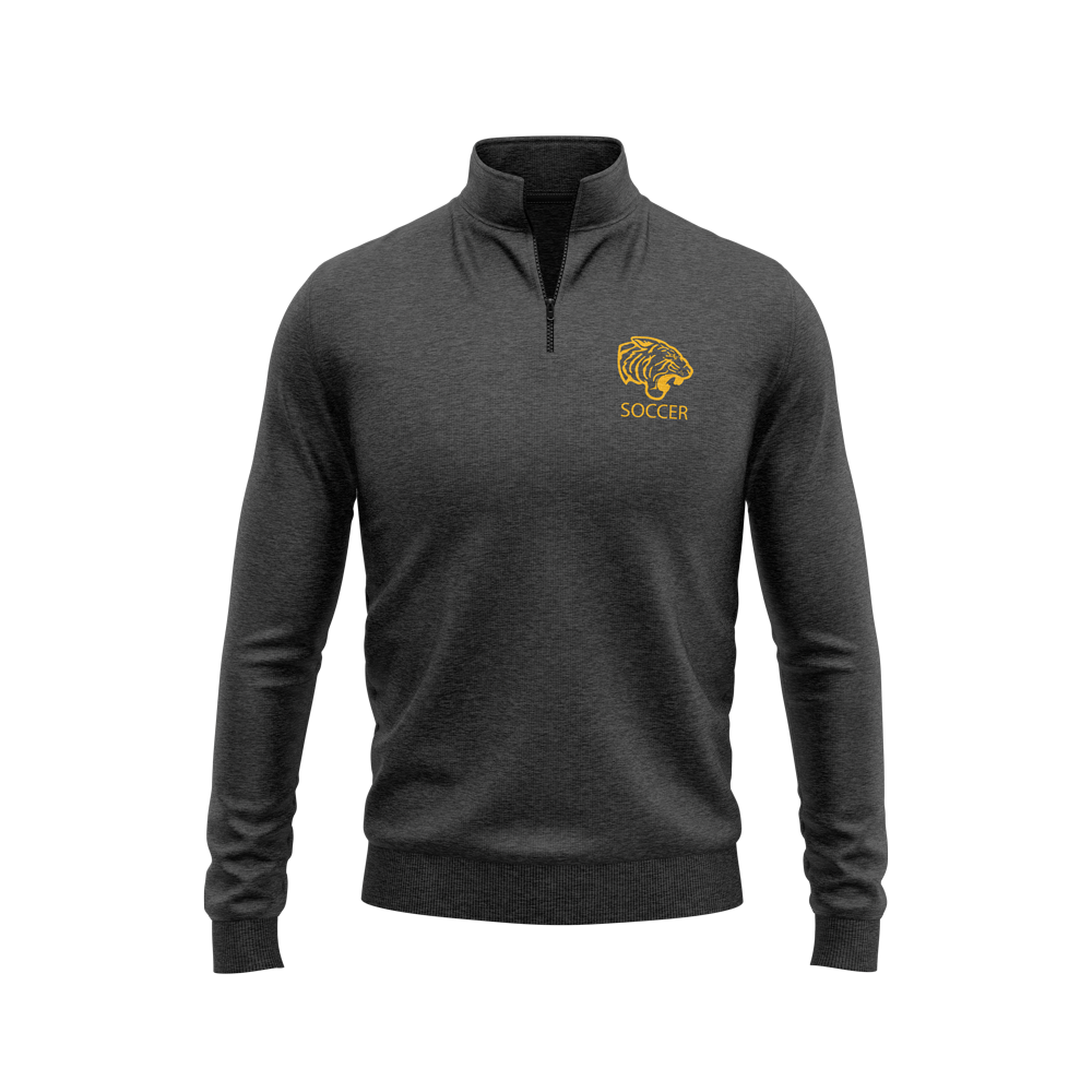 ONU quarter zip fleece in graphite with tiger logo and soccer underneath in gold - Diehard Custom Fundraising